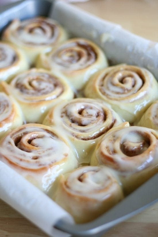 finished Cinnamon Rolls in baking pan