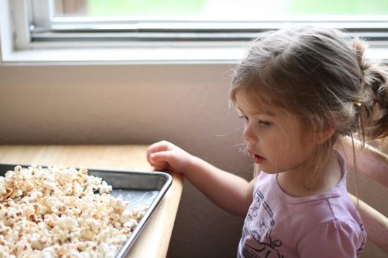 Brooke looking at popcorn