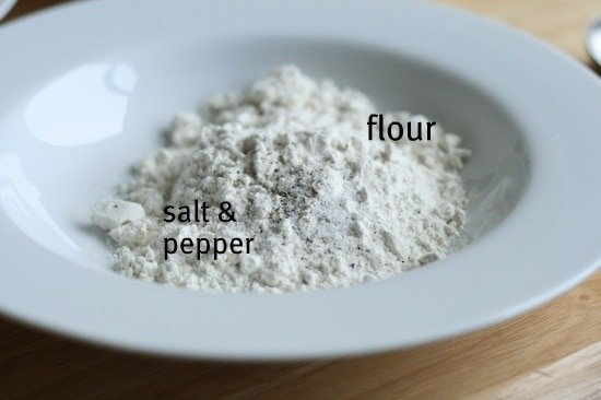 flour salt and pepper in a bowl