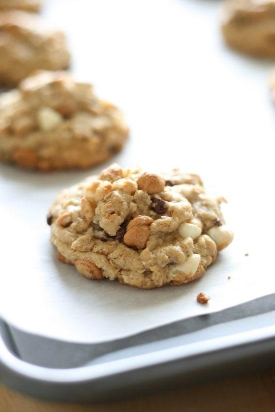 Baked Loaded Oatmeal Cookies on a baking sheet