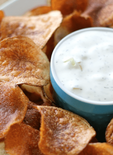 Homemade Kettle Chips with Onion Dill Dip