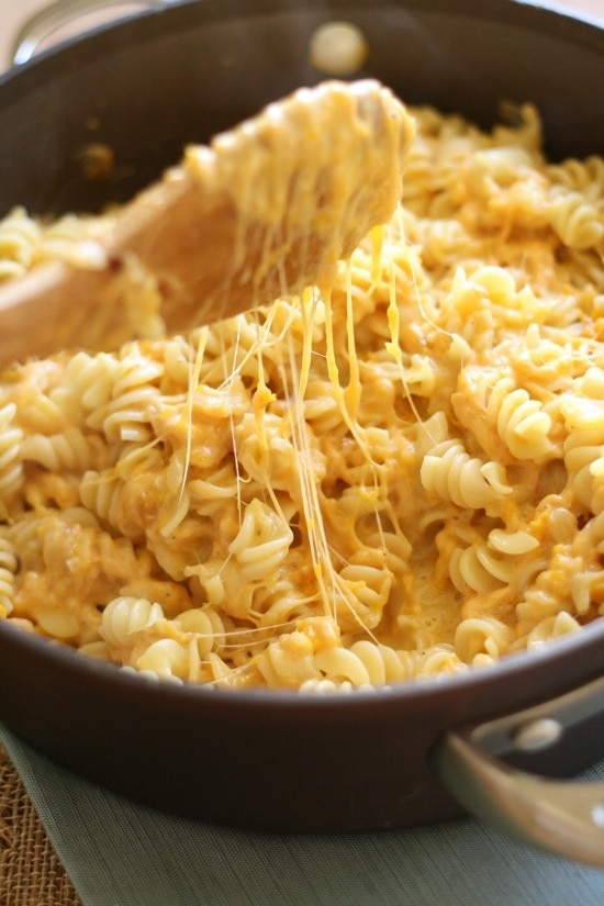 Butternut Squash Mac and Cheese in a pan