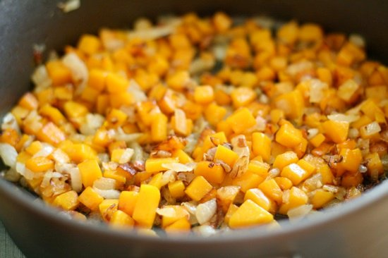 Cooking butternut squash with onions and garlic