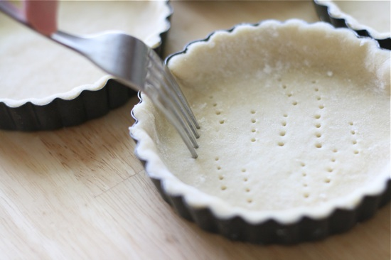 pricking pie shell with fork