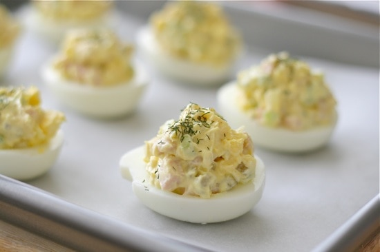 Deviled Eggs with Dill Garnish