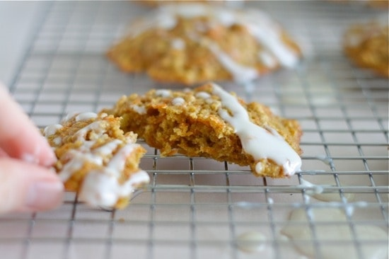 Healthy Carrot & Oat Breakfast Cookies with Greek Yogurt Glaze