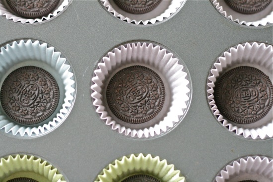Oreo on the bottom of cupcake liners
