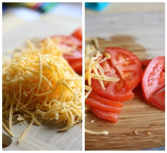 Shredded cheese and tomatoes