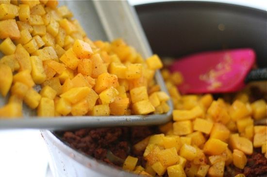 Adding cooked butternut squash