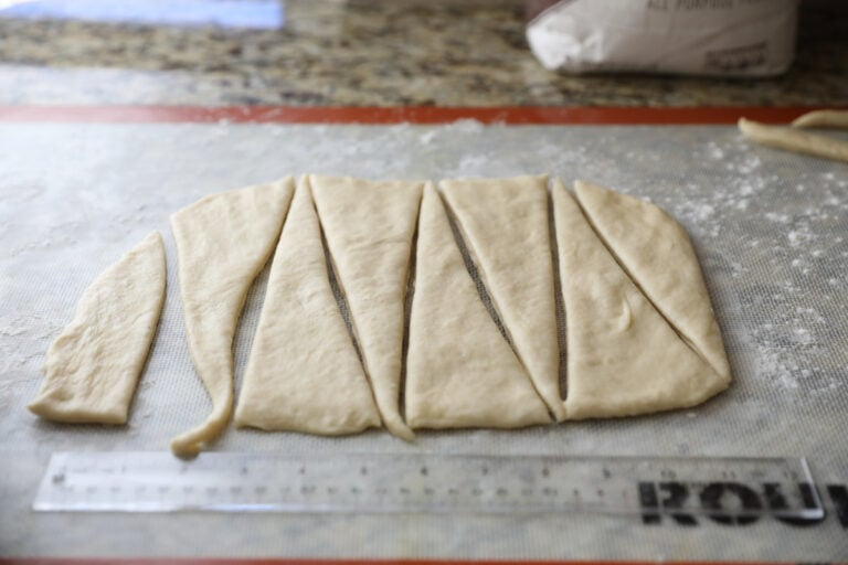 dough cut into triangles