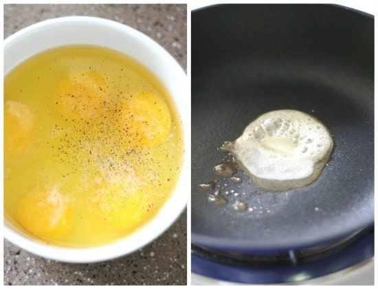 Egg and butter in a pan