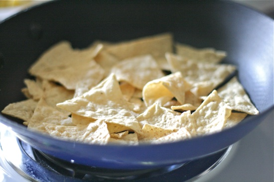 Tortilla chips in a pan