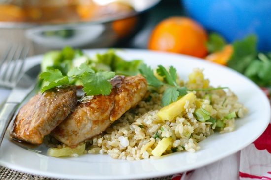 Orange & Hoisin Glazed Pork Medallions with Pineapple Fried Brown Rice