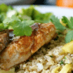 orange hoisin glazed pork medallions with pineapple fried brown rice