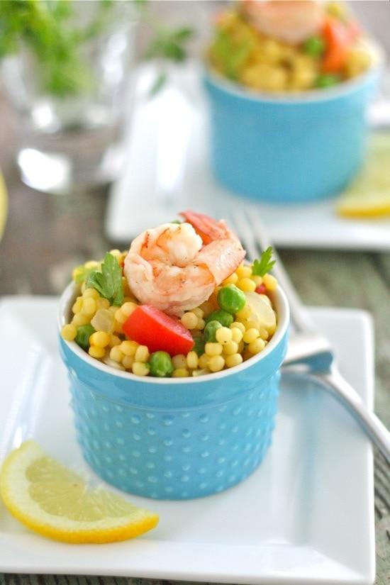 Warm Paella Couscous Salad with Shrimp