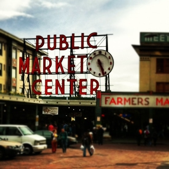 A sign on the side of Pike Place Market