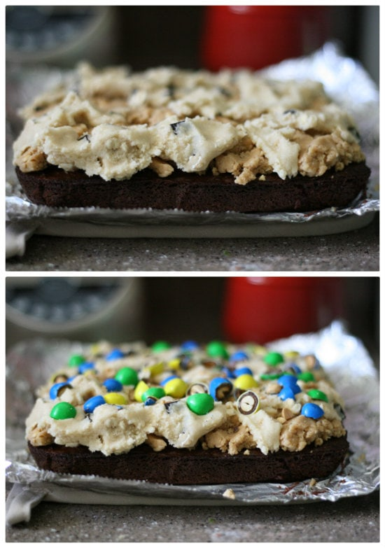 topping brownies with peanut butter layer, cookie dough and m&m's