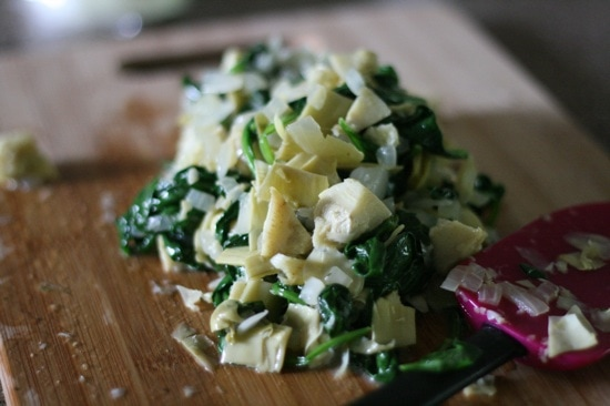 Spinach, artichoke and onion mixture