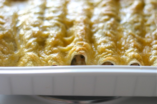 Cheesy Green Chile Pork Enchiladas