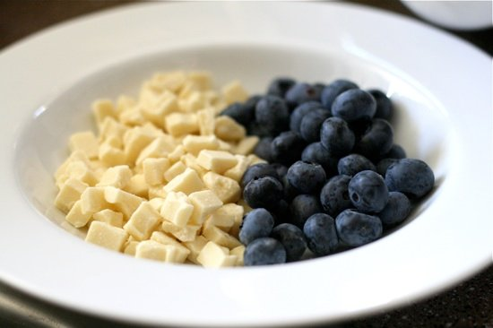 Blueberries and white chocolate chunks