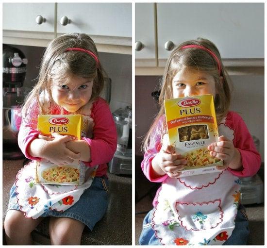 Brooke holding Farfalle pasta box