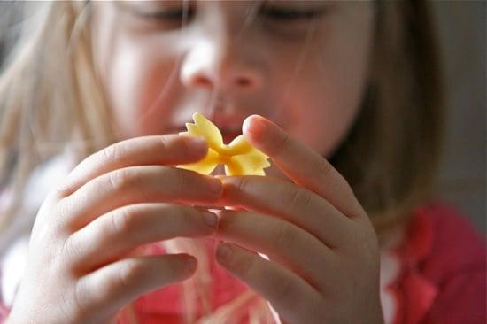 Brooke holding Farfalle pasta