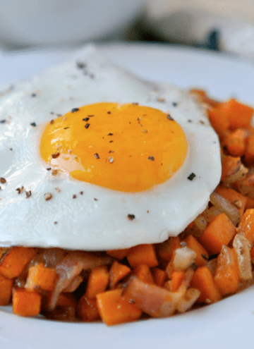 Fried Eggs & Sweet Potato Bacon Hash