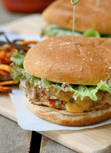 Girls Night Turkey Burgers with Spicy Sweet Potato Fries