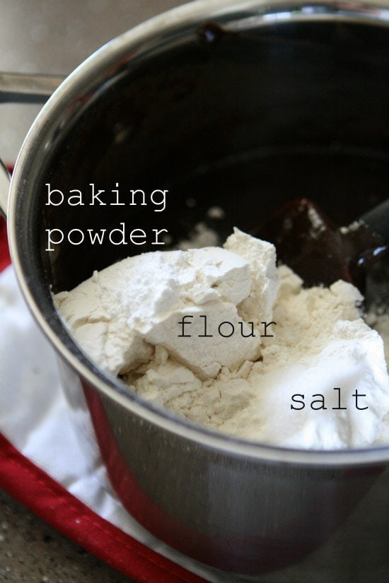 baking powder, flour and salt