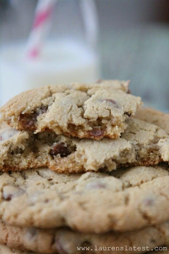 mrs fields chocolate chip cookie bit into