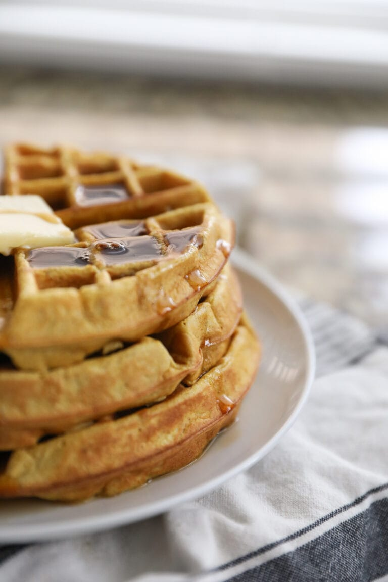 pumpkin waffles on a plate