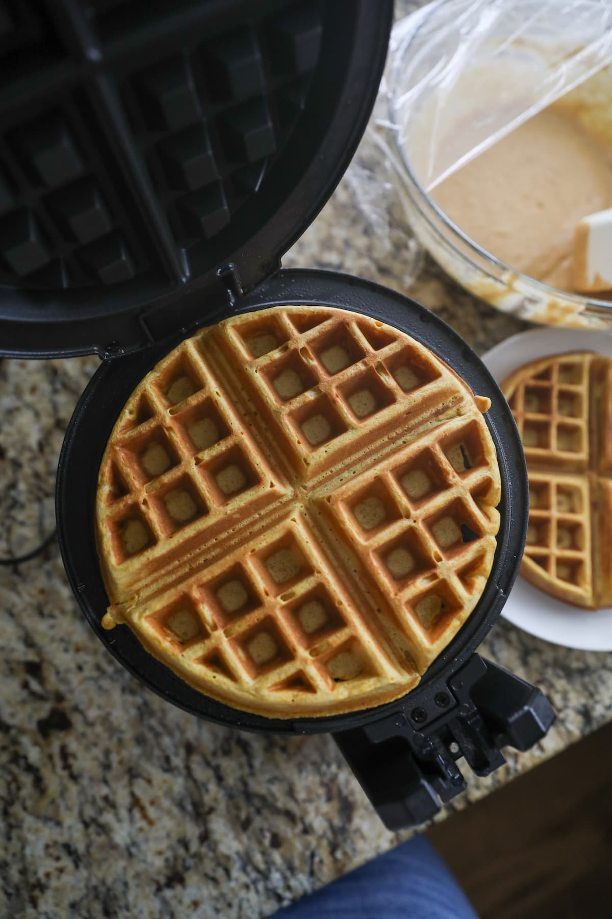 cooked waffle in waffle iron