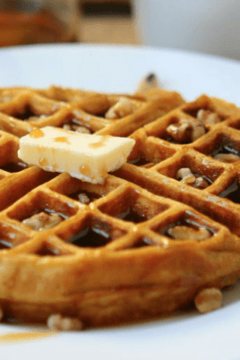 waffle with syrup and butter
