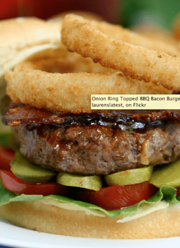 Onion Ring Topped BBQ Bacon Burger