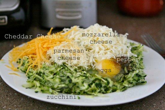 Zucchini, Cheese, egg and pepper