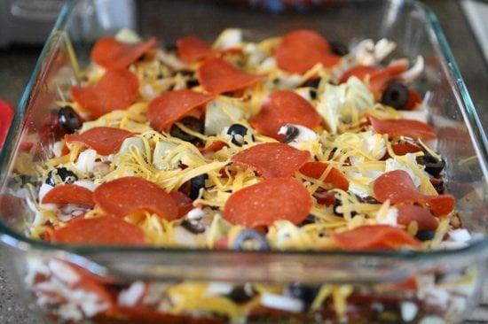 Zucchini Pizza Casserole unbaked