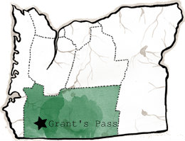 Oregon Map with Grants Pass highlighted