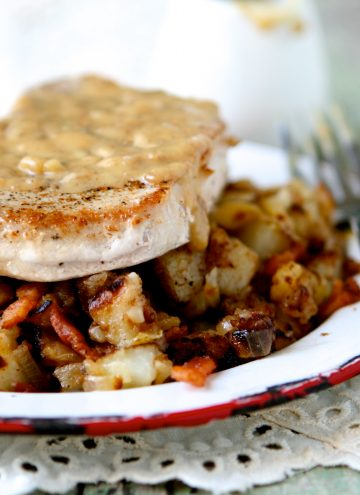 Pan-Seared Pork Chops with Maple Gravy & Apple Bacon Hash