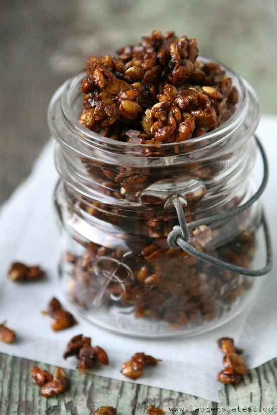 Candied Pepitas in a jar