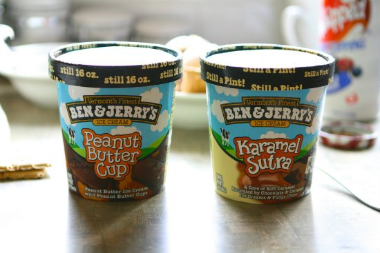 Ben and Jerry\'s Peanut Butter Cup and Karamel Sutra Ice Cream Pints