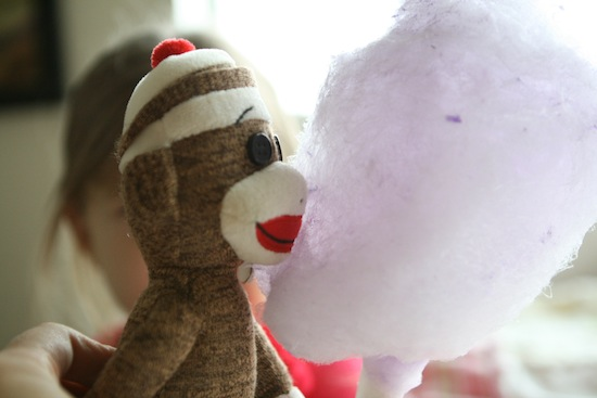 Monkey stuffed animal with cotton candy