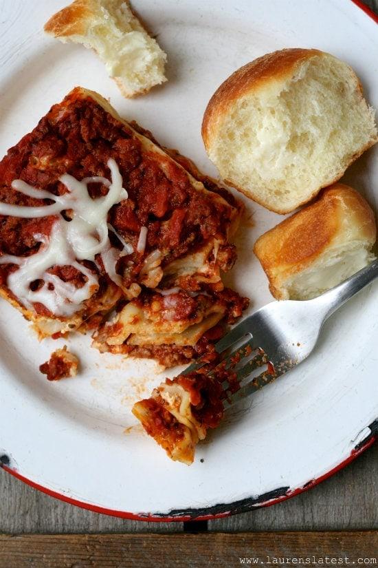 Lasagna with rolls