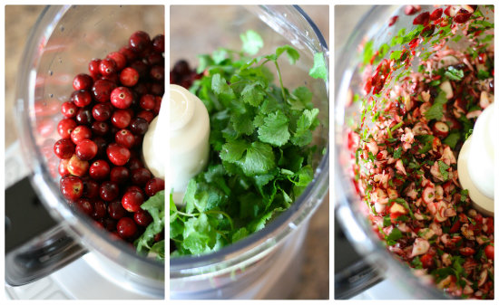 making cranberry salsa