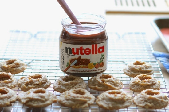 Salted Nutella Peanut Butter Thumbprint Cookies