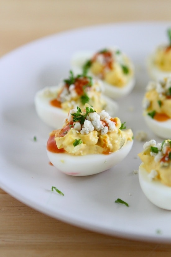 Buffalo Blue Cheese Deviled Eggs from www.laurenslatest.com