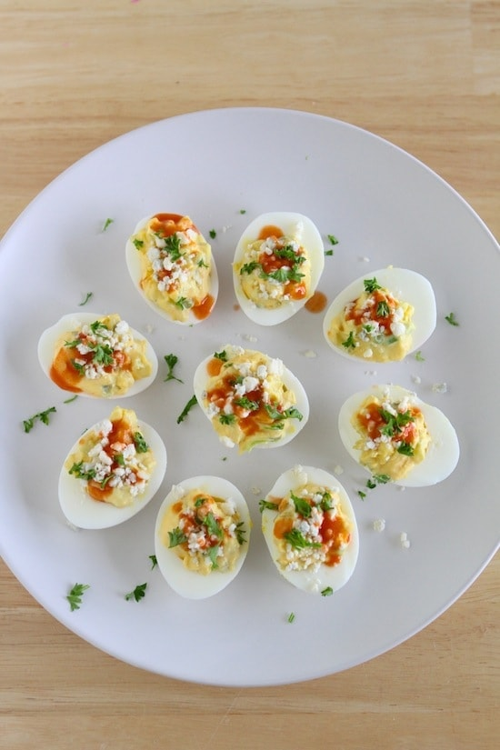 Buffalo Blue Cheese Deviled Eggs