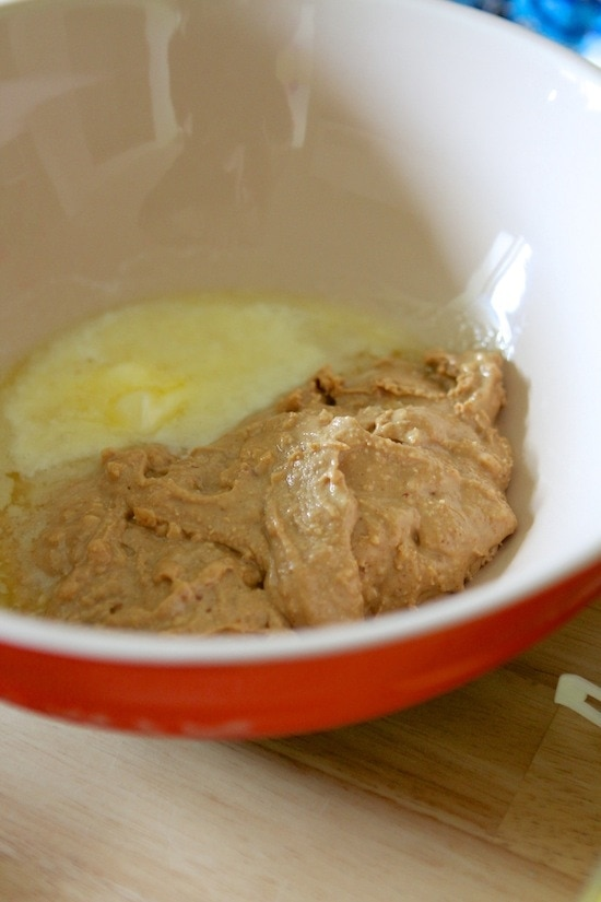 peanut butter and melted butter in a bowl