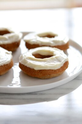 carrot cake doughnuts with cream cheese frosting