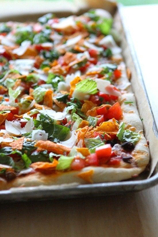 Taco Salad Pizza with Doritos! From www.laurenslatest.com