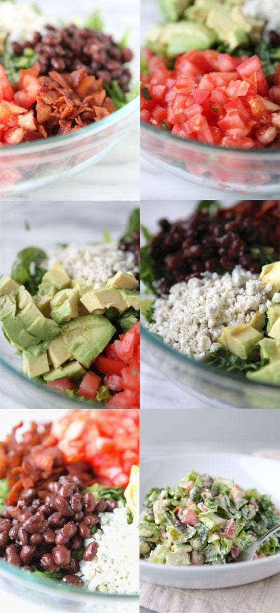 Collage of how to make Bacon Blue Cheese Chopped Salad